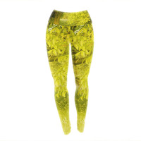 "Iris Lehnhardt ""Summer"" Tree Green Yoga Leggings"