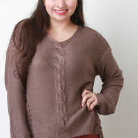 Side Shredded Cable Knit Long Sleeves Sweater Top