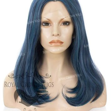 "17 inch Heat Safe Synthetic Lace Front ""Victoria"" Bob with Straight Texture in Deep Ocean Blue"
