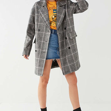 UO Men's Plaid Overcoat | Urban Outfitters