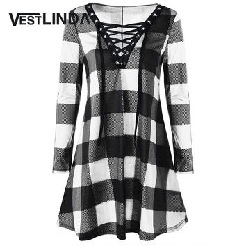 VESTLINDA Plus Size 5XL 4XL Women Dress Fashion Plaid Lace Up Dress New Year Plunging Neck Long Sleeves Midi Robe Vestidos Mujer