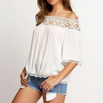 White Lace Comfortable Loose T-shirts for Women 02