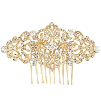 Gold Tone Bridal Flower Hair Comb Pins