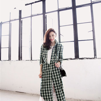 women plaid shirt/Checkered Shirt Dress/preppy shirt/women Checkered Shirt/ladies casual shirt/long plaid shirt/spring shirts/ Long Sleeve