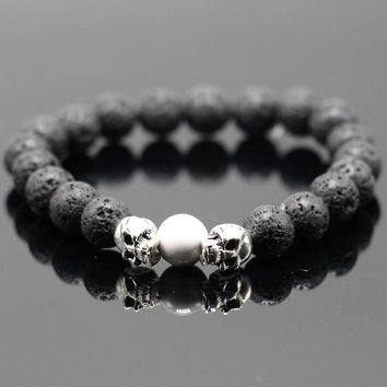 Adjustable Skull Elasticity Colorful Natural Stone Gem Bead Bracelet Bangle Women Punk Style Jewelry Man Fashion Charm Design