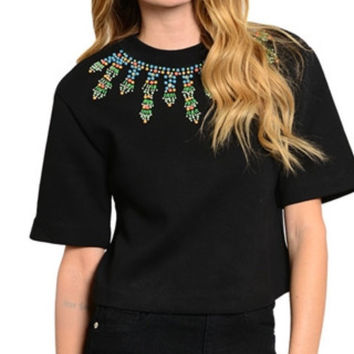 Multi Beaded Stone Relaxed T-Shirt