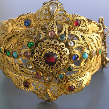 WIDE Antique Victorian Gold Gilt Filigree Oriental by PritiStar