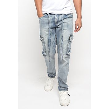 Drawstring Denim Cargo Pants