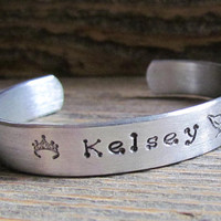 Name Bracelet Dotz Font Toddler or Child Size Hand Stamped Cuff Aluminum Personalized Custom Jewelry Little Girl