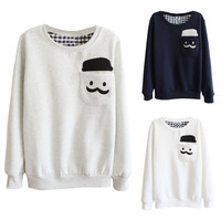 Cute Patch Pocket Embroidery Long Sleeve Loose Fit Thermal Sweater For Women