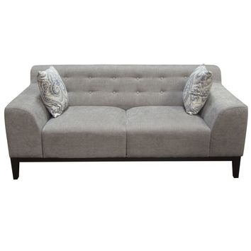 Marquee Tufted Back Sofa & Chair 2PC Set in Moonstone Fabric with Accent Pillows