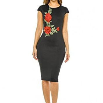 Black Capped Sleeve Rose Embroidered Midi Dress