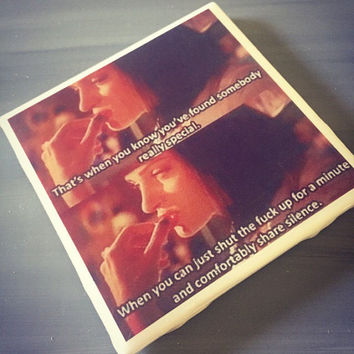 Pulp Fiction Movie Quote Ceramic Tile Coaster; Uma Thurman; House Decor; House Warming Gift; Unique Movie Quotes; Classic Movie Home Decor;