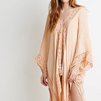 Oversized Crochet-Paneled Poncho