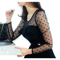 Cotton Chiffon Black Round Neck Long Sleeve Dotted Pleating One Size Dress @A9008
