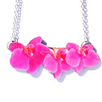 Orchid Necklace, Pink Orchid Necklace, Pink necklace, Pink pendant, Flower necklace, Pink flower, Pink accessories,