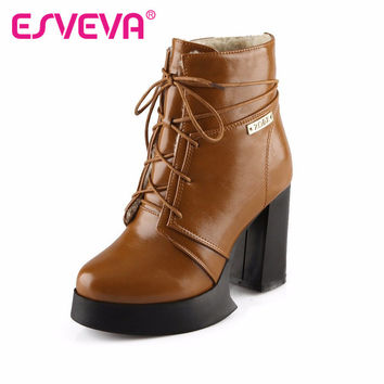 ESVEVA ankle boots high heel shoes winter fashion sexy lace-up women boot