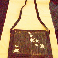Large Duct Tape Tote Bag  black with stars handmade by JuJu