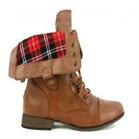 Yab Fold Over Ankle High Combat Boots in Tan @ yabshop.com
