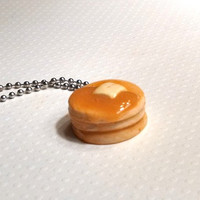 Stack of Pancakes Necklace, Polymer Clay Jewelry, Miniature Food