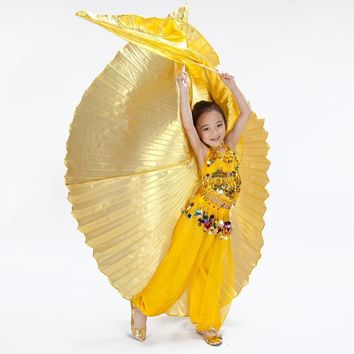 Gold Silver Belly Egypt Eastern Dance Butterfly Isis Wings for Girls Children Oriental Dancing Costumes Accessories Not Opening