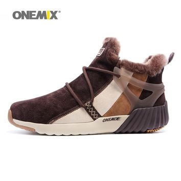 ONEMIX Winter Walking Boots For Men leather Warm Snow Shoes Waterproof Women Designer Outdoor Trekking Sneakers Trail Footwear 8