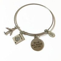 Not All Who Wander Are Lost Charm Bangle Bracelet World Traveler Expandable Bracelet Stacking Bracelet Travel Adjustable Wire Bangle