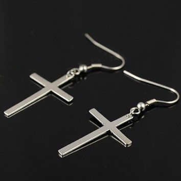 Simple Design Cross Shape Earring Titanium Silver for Men