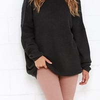 Scoop Dropped Shoulder Backless Loose Pullover Sweater