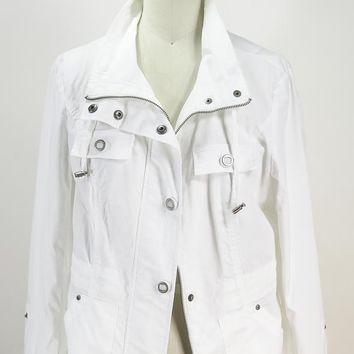 TRIBAL Women's White Toggle Jacket Outer Wear SZ 6