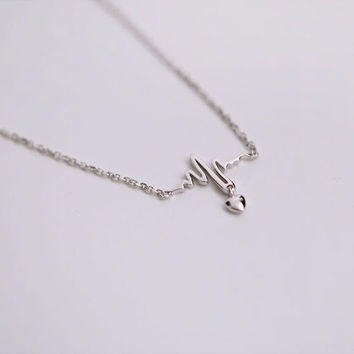 925 sterling silver necklace, ecg heart necklace, delicate and lovely gifts