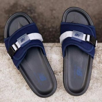 new balance darkblue black slide sandal