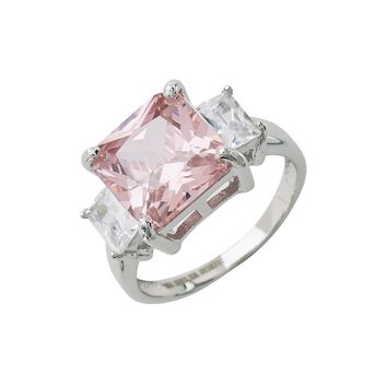 Sterling Forever Sterling Silver Pink CZ Cocktail Ring