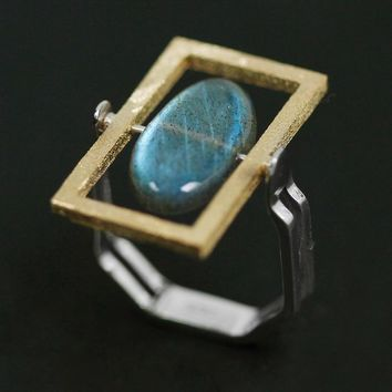 YESWOMEN 925 Sterling Silver Jewelry Natural Labradorite Simple Geometric Ring For Women Party Gift