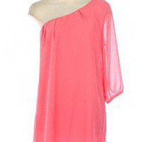 CORAL 3/4 SLEEVE ONE SHOULDER CHIFFON DRESS @ KiwiLook fashion