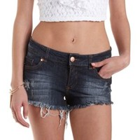 Dark Wash Denim Destroyed Cut-Off Denim Shorts by Charlotte Russe