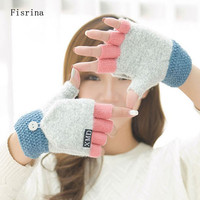 Fashion Clamshell Acrylic Winter Gloves Women Warm Fingerless Gloves Female Cute Patchwork Mittens For  Students Guantes Mujer