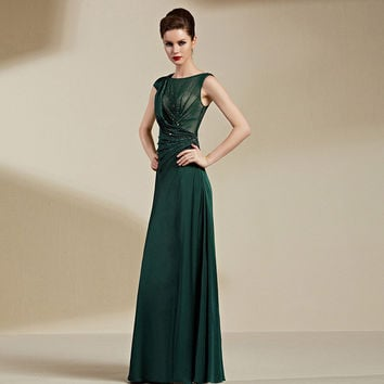 CONIEFOX Green Long Evening Gowns Draped Pleated with Sequined Sexy See through  Evening Dress Designer Party Dress 82092