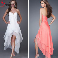 Summer High Low Pink / White Evening Prom Dresses 2016 sweetheart beaded sleeveless tiered vestido de festa Wedding Party Gowns
