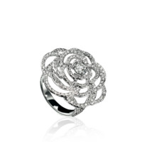 Camélia Ring in 18K white gold and diamonds - CHANEL