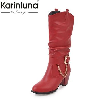 KARINLUNA 2017 Large Size 33-47 customize Platform Women Shoes Fashion square Heels Woman Boot Black western Boots Chains Winter