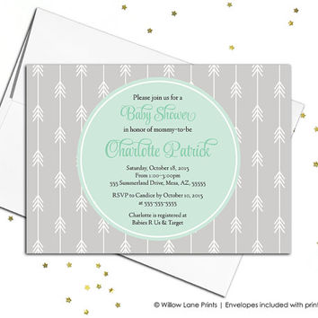 Gender neutral baby shower invitations - neutral baby shower themes - mint and gray baby shower - printable baby shower invitations (741)