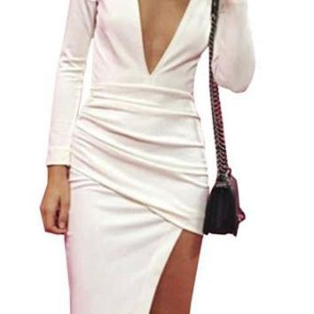 Wine And Dine White Long Sleeve Plunge V Neck Ruched Wrap Asymmetric Bodycon Mini Midi Dress - Last One!