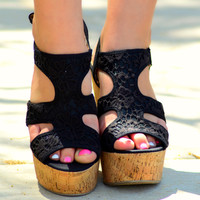 SWEET STEPPIN WEDGES IN BLACK