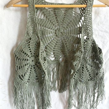 Crochet waistcoat, festival wear, grey green bohemian style lace vest, cotton sleeveless tank,hippie top