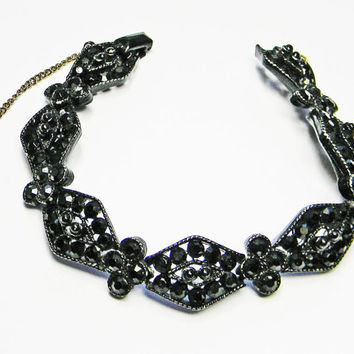 Weiss Black Rhinestone Link Bracelet Japanned Black Metal
