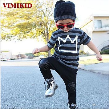 Boys Clothes Toddler Kids Baby Boys Cotton Outfits Striped Short Sleeve T-shirt Tops+Long Pants Leggings