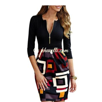 Chic Geo-Print Zip Front Patchwork Plus Women Work Midi Dress