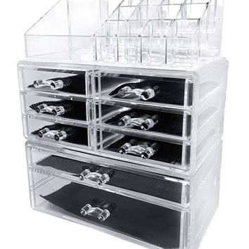 Sodynee Acrylic Makeup Cosmetic Organizer Storage Drawers Display Boxes Case Three Pieces Set Clear 3Pcs