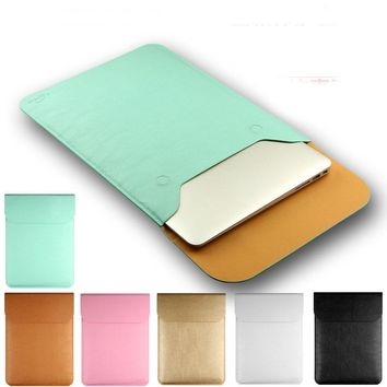 Soft Ultra-thin PU Leather Vertical Laptop Sleeve case for Macbook Air 13 Pro Retina 11 12 15 inch